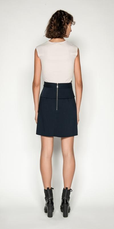 Skirts | Belted Asymmetric Mini Skirt