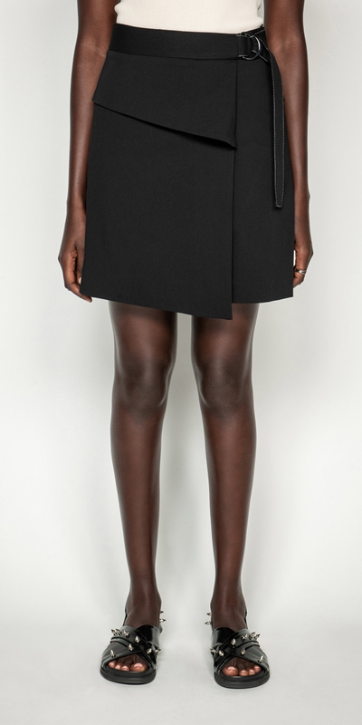 Skirts  | Belted Asymmetric Mini Skirt
