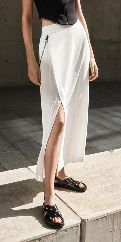 Sale  | Pleated Column Maxi Skirt