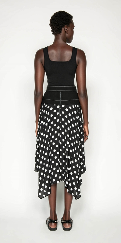 Skirts | Spot Viscose Georgette Belted Midi Skirt