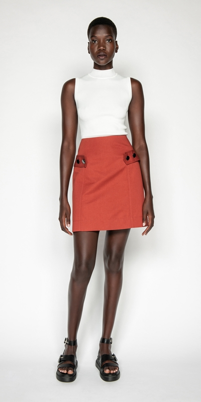 Skirts | Cotton Linen Aline Skirt
