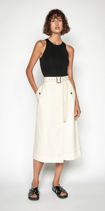 Skirts | Topstitched Cotton Blend Midi Skirt