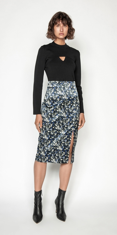 Made in Australia | Abstract Floral Satin Midi Skirt
