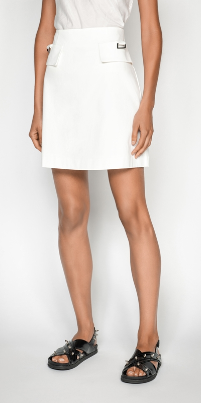 Skirts  | Cotton Dobby Utility Mini Skirt
