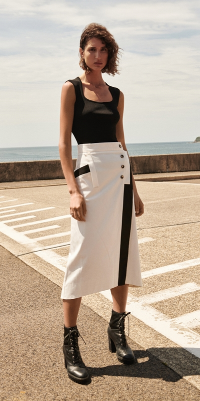 Made in Australia  | Wrap Front Midi Skirt