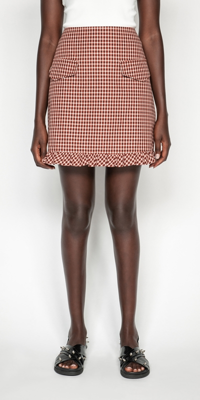 Skirts  | Cotton Linen Check Frilled Mini