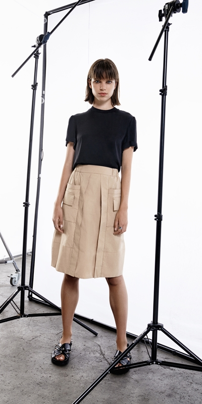 Sale  | Camel Cotton Utility Skirt