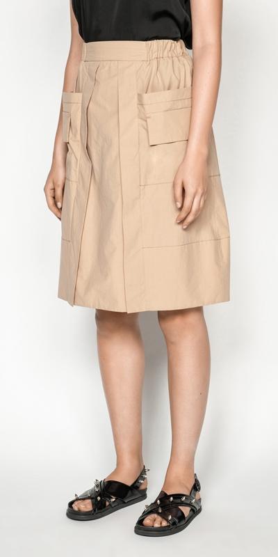 Skirts | Camel Cotton Utility Skirt