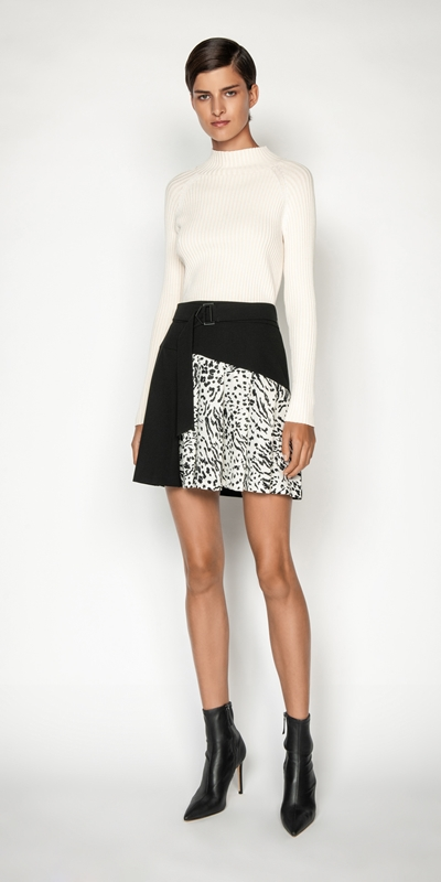 Skirts | Monochrome Animal Mini Skirt