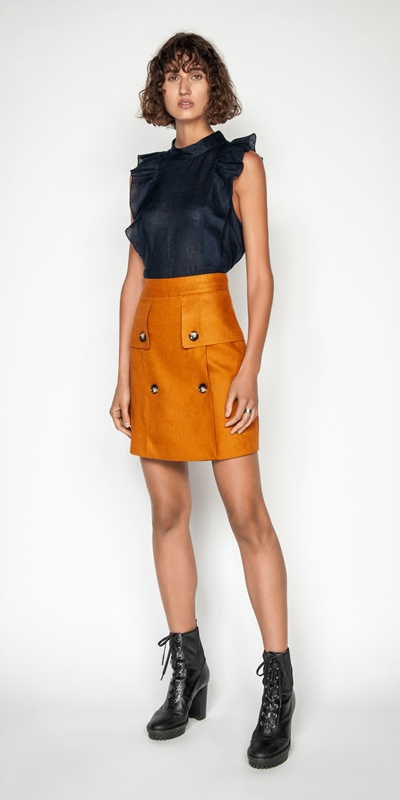 Skirts | Linen Aline Mini Skirt