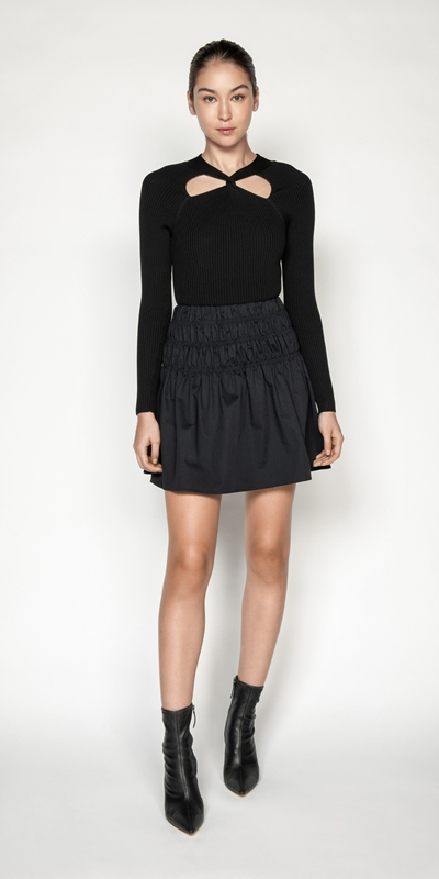 Skirts | Cotton Ruched Waist Skirt