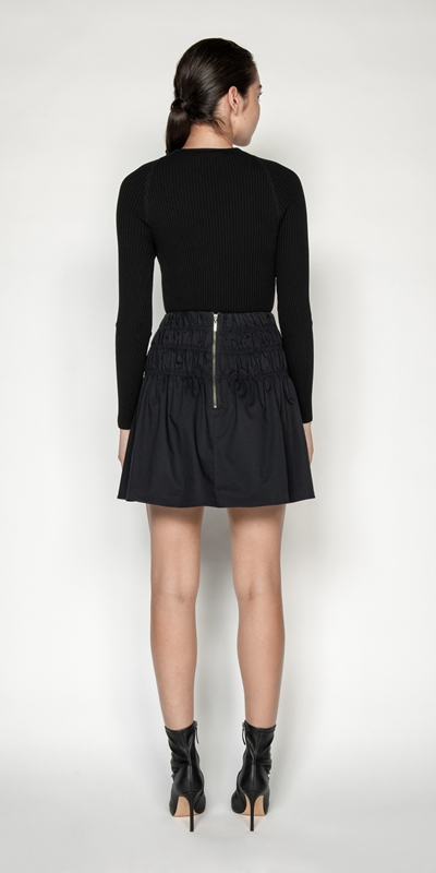 Skirts | Cotton Ruched Waist Skirt