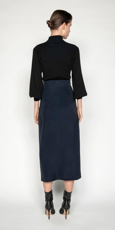 Skirts | Fine Faille Midi Skirt