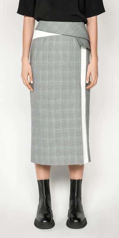 Sale  | Check Asymmetric Peplum Midi Skirt