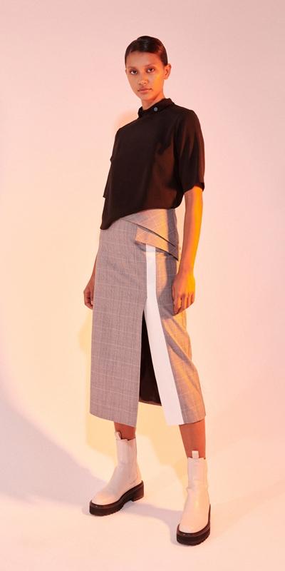 Skirts   Check Asymmetric Peplum Midi Skirt