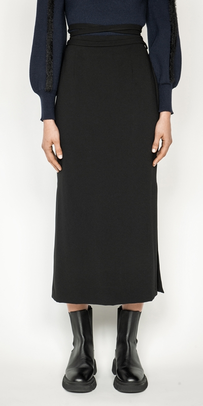 Sale  | Tie Waist Column Skirt