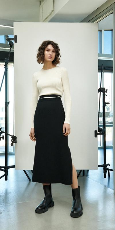 Skirts | Tie Waist Column Skirt