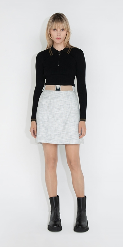 Cue Cares - Sustainable | Tweed Mini Skirt