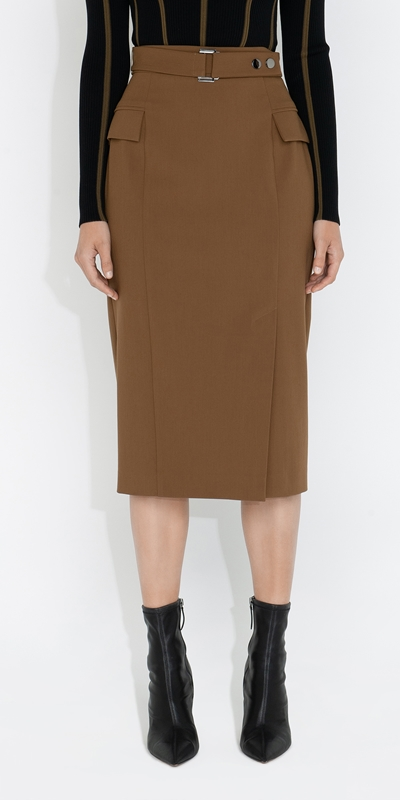 Cue Cares - Sustainable  | Belted Pencil Skirt