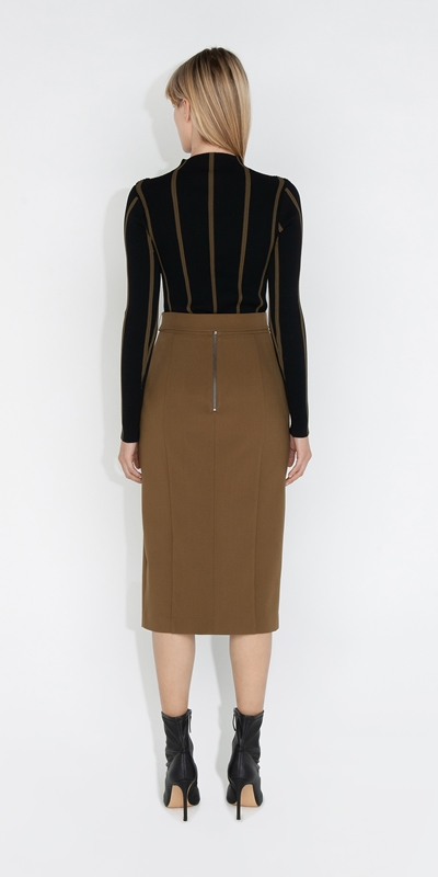 Skirts   Belted Pencil Skirt