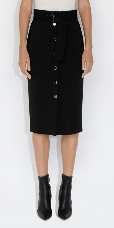 Skirts  | Twill Snap Front Skirt