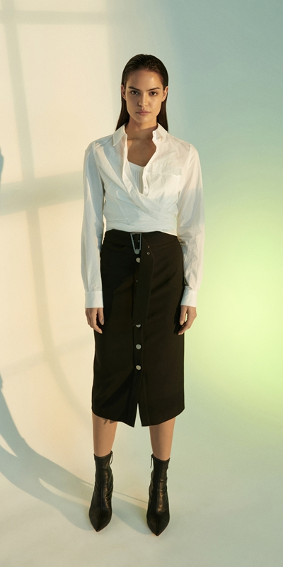 Skirts   Twill Snap Front Skirt