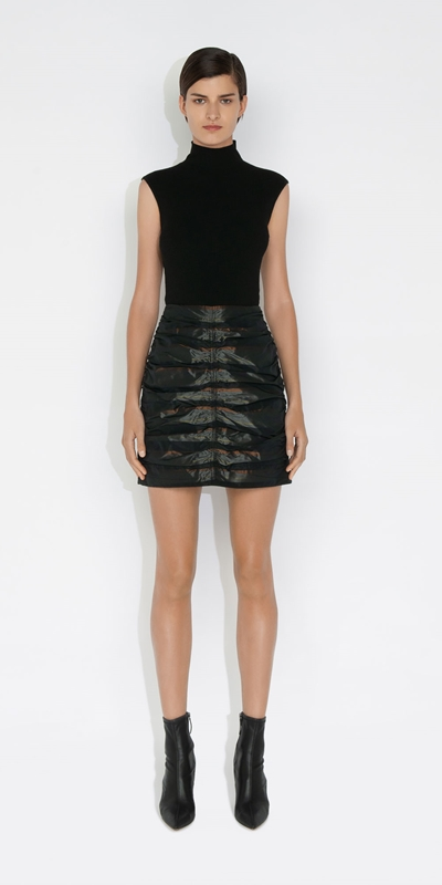 Skirts | Stripe Taffeta Ruched Mini Skirt