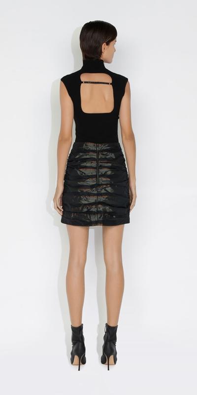 Skirts   Stripe Taffeta Ruched Mini Skirt