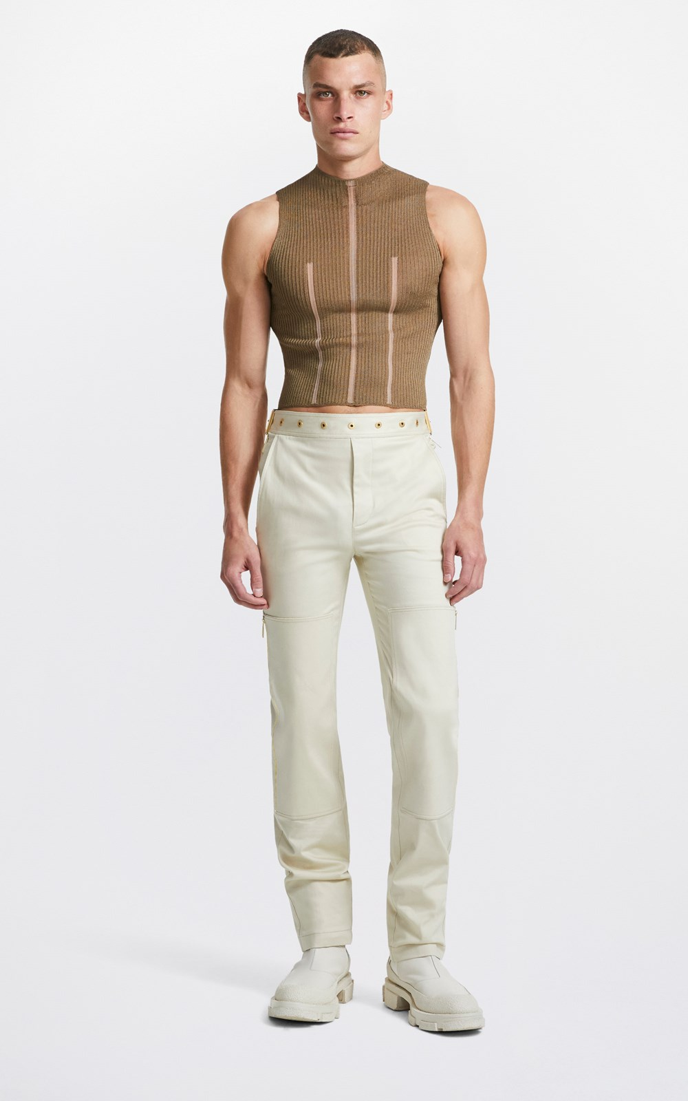 New    MIRROR BUCKLE PANT