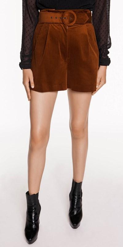Pants  | Corduroy Paper Bag Waist Shorts