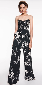 Pants | Monochrome Floral Waisted Pant