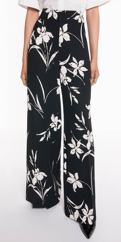 The Party Edit  | Monochrome Floral Waisted Pant