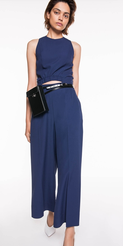 Jumpsuits | Twill Wide Leg Jumpsuit