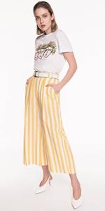Pants | Linen Stripe Wide Leg Pant