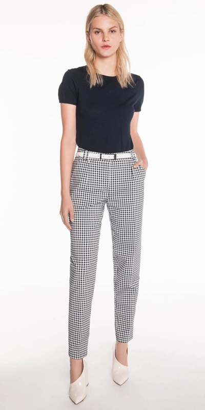 Shirts | Gingham Belted Slim Pant