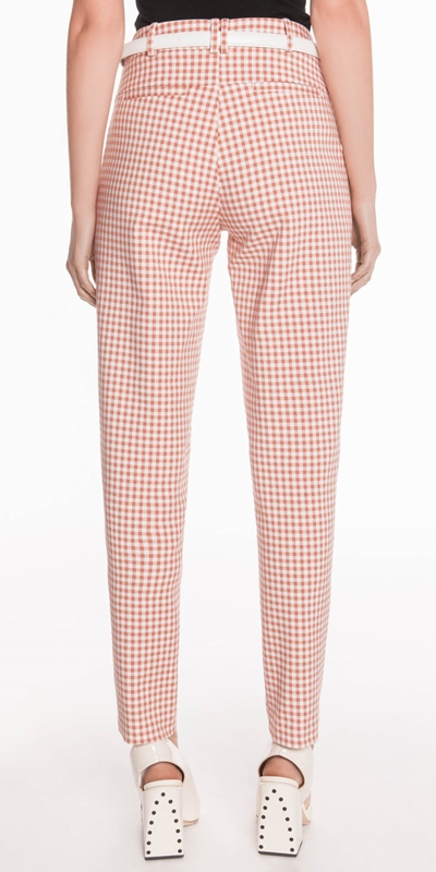 Pants | Gingham Belted Slim Pant