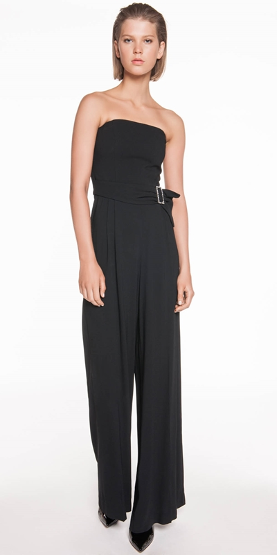 The Party Edit | Diamante Buckle Strapless Jumpsuit