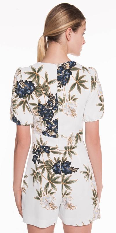 Jumpsuits | Kimono Floral Crepe Playsuit