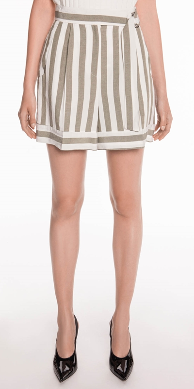 Sale  | Stripe Linen Belted Shorts