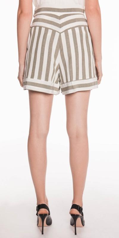 Pants   Stripe Linen Belted Shorts