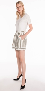Pants | Stripe Linen Belted Shorts