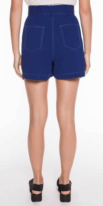 Pants | Belted Topstitched Short