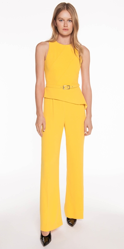 Jumpsuits | Crepe Belted Asymmetric Jumpsuit