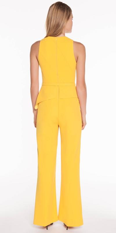 Jumpsuits   Crepe Belted Asymmetric Jumpsuit
