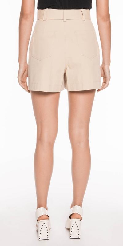 Pants | Cotton Twill Topstitched Shorts