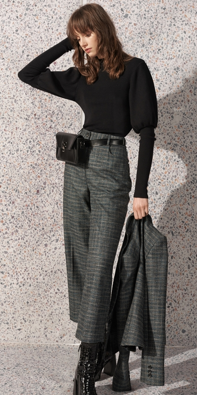 Pants  | Teal Tweed Cropped Pant
