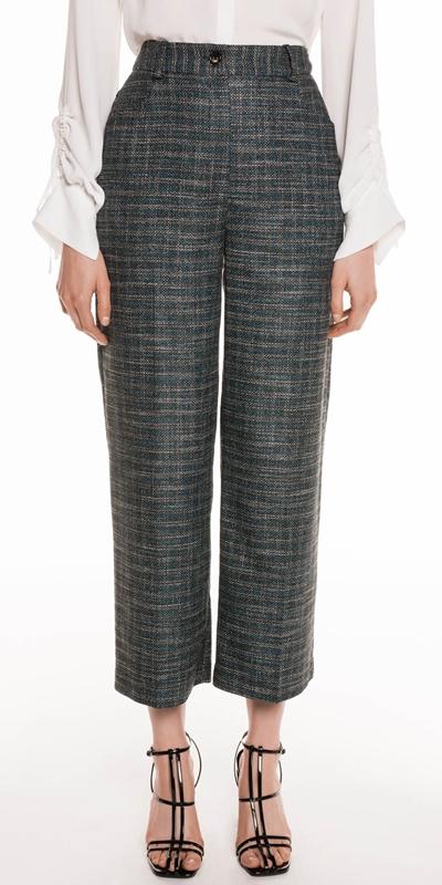 Pants | Teal Tweed Cropped Pant