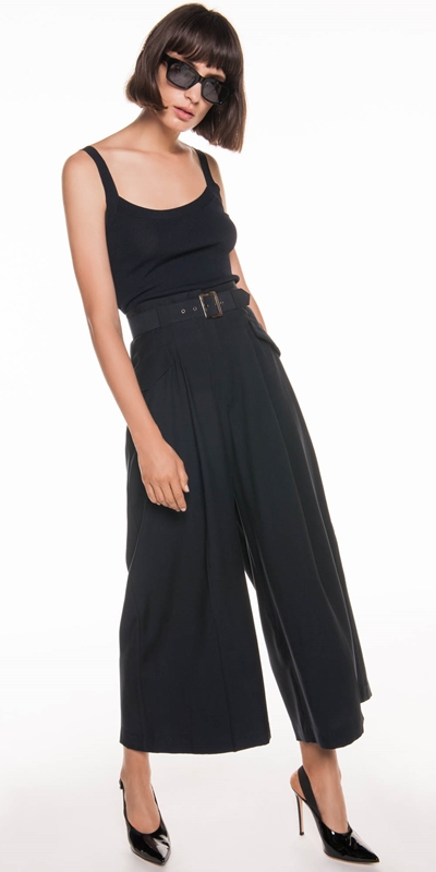 Made in Australia | Drapey Pique Wide Leg Pant