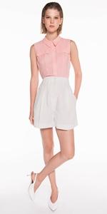 Pants   High Waisted Linen Blend Shorts