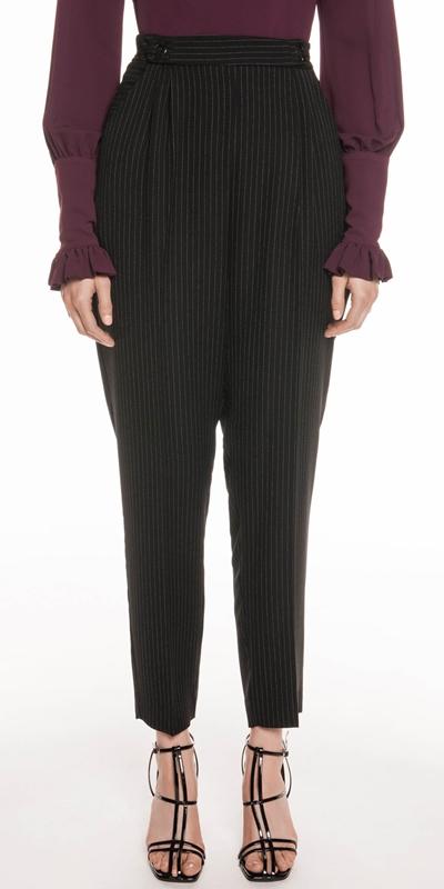 Pants | Pinstripe Crepe Tapered Pant